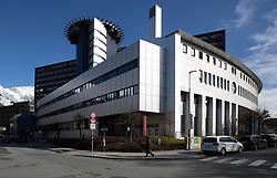 THEMENBILD - In Österreich gibt es erstmals zwei bestätigte Coronavirus-Fälle. Die beiden 24-Jährigen befinden sich vorerst in der Innsbrucker Klinik in Isolation. Hier im Bild: Gebäude der Universitätsklinik Innsbruck aufgenommen am Mittwoch, 26. Februar 2020 // There are two confirmed coronavirus cases in Austria for the first time. The two 24-year-olds are initially in isolation in the Innsbruck clinic. Pictured here: Building of the Innsbruck University Clinic. Wednesday, February 26, 2020. EXPA Pictures © 2020, PhotoCredit: EXPA/ Johann Groder