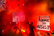 Glastonbury Festival, 2015. Shangri La is a festival of contemporary performing arts held each year within Glastonbury Festival. The theme for the 2015 Shangri La was Protest. <br /> Staged public demonstration storming the Hell stage in Shangri La.