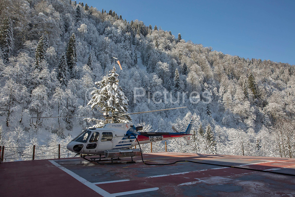 A helicopter belonging to the adventure travel company Turkey Heliski on the 4th March 2019 in Ayder in the Kackar Mountains in Eastern Turkey.
