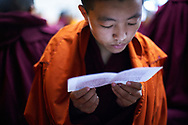 """Morning puja (buddhist ritual), mostly they celebrate Tara, a female deity, and Guru Rinpoche, """"the Precious Master"""" who spread Buddhism to Himalayan areas such as Tibet and Bhutan - Dolma Ling nunnery, Dharamsala, India, 2012"""