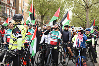 pro-Palestine demonstration supporters march through london to the Israeli Embassy in High St Kensington, London, England, UK on Saturday 15 May, 2021 photo by Krisztian  Elek