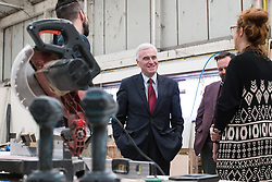© Licensed to London News Pictures . 25/09/2016 . Liverpool , UK . Shadow Chancellor JOHN MCDONNELL visits Make Liverpool , an open access workshop and maker space , free to use for the people of North Liverpool , on Trafalgar Dock , during the first day of the Labour Party Conference . Photo credit : Joel Goodman/LNP