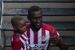 26.07.2015, Estadio Vicente Calderon, Madrid, ESP, Primera Division, Athletico Madrid, Spieler Neuzugang, im Bild Atletico Madrid's new Colombian striker Jackson Martinez with his son // during his official presentation as a new player of the Spanish Primera Division Club Atletico de Madrid at the Estadio Vicente Calderon in Madrid, Spain on 2015/07/26. EXPA Pictures © 2015, PhotoCredit: EXPA/ Alterphotos/ Victor Blanco<br /> <br /> *****ATTENTION - OUT of ESP, SUI*****
