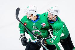 Gal Koren of HK SZ Olimpija and Nejc Brus of HK SZ Olimpija celebrate during Ice Hockey match between HK SZ Olimpija Ljubljana and HDD Jesenice in Round #24 of Alps Hockey League, on December 22, 2018 in Hala Tivoli, Ljubljana, Slovenia. Photo by Ziga Zupan / Sportida