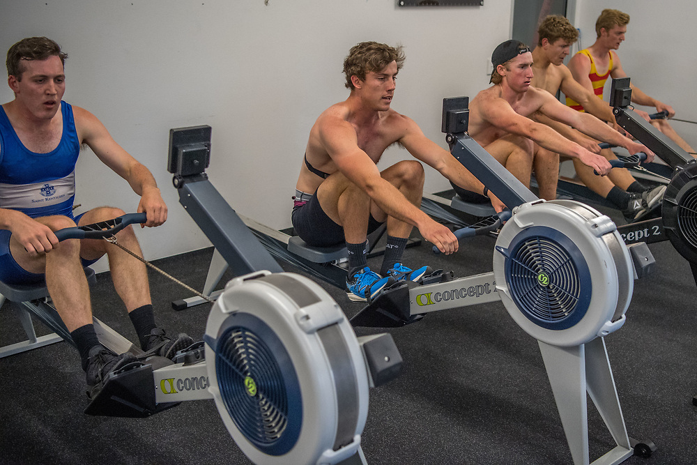 SRPC squad ergometer training at HPSNZ Apollo Sports Centre, Christchurch. Tuesday 20 November 2018 © Copyright photo Steve McArthur / @RowingCelebration