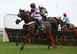 Verdana Blue ridden by Nico de Boinville (red cap) trail the leaders over an early flight before going on to win The Unibet Christmas Hurdle Race run during day one of 32Red Winter Festival at Kempton Park Racecourse.