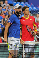 Benoit PAIRE (French) and Pablo Carreno Busta (Spain )during the 2018 Davis Cup, semi final tennis match between France and Spain on September 14, 2018 at Pierre Mauroy stadium in Lille, France - Photo Laurent Lairys / ProSportsImages / DPPI