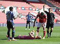 Referee Tony Harrington shows Sheffield Wednesday's Kadeem Harris a yellow card for his foul on Bristol City's Daniel Bentley<br /> <br /> Photographer Ian Cook/CameraSport<br /> <br /> The EFL Sky Bet Championship - Bristol City v Sheffield Wednesday - Sunday 27th September, 2020 - Ashton Gate - Bristol<br /> <br /> World Copyright © 2020 CameraSport. All rights reserved. 43 Linden Ave. Countesthorpe. Leicester. England. LE8 5PG - Tel: +44 (0) 116 277 4147 - admin@camerasport.com - www.camerasport.com