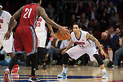 DALLAS, TX - DECEMBER 16: Nic Moore #11 of the SMU Mustangs defends against Schane Rillieux #21of the Nicholls State Colonels on December 16, 2015 at Moody Coliseum in Dallas, Texas.  (Photo by Cooper Neill/Getty Images) *** Local Caption *** Nic Moore