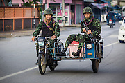 25 OCTOBER 2012 - PATTANI, PATTANI, THAILAND: Soldiers in the Royal Thai Army patrol downtown Pattani, Thailand. More than 5,000 people have been killed and over 9,000 hurt in more than 11,000 incidents, or about 3.5 a day, in Thailand's three southernmost provinces and four districts of Songkhla since the insurgent violence erupted in January 2004, according to Deep South Watch, an independent research organization that monitors violence in Thailand's deep south region that borders Malaysia.     PHOTO BY JACK KURTZ