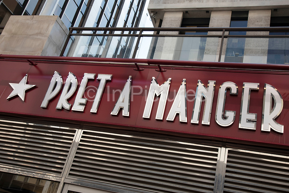Sign for the sandwich shop and brand Pret A Manger in Birmingham, United Kingdom.