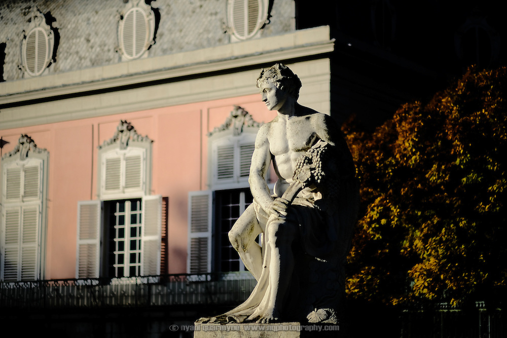 A statue in the grounds of Schloss Benrath, a baroque pleasure palace, on autumn day in Düsseldorf, Germany on 29 October 2016.