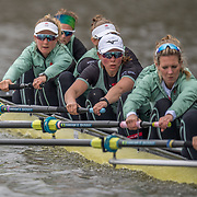 Cambridge Women , Tricia Smith, bow , Sophie Deans, 2 , Laura Foster, 3 , Larkin Sayre, 4 , Kate Horvat, 5 , Pippa Whittaker, 6 , Ida Gortz Jacobsen, 7 , Lily Lindsay, stroke , Hugh Spaughton, cox <br /> <br /> Crews prepare for Sunday's 165th Boat Race between Oxford and Cambridge, River Thames, London, Thursday 4th April 2019. © Copyright photo Steve McArthur / www.photosport.nz