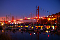 San Francisco - Golden Gate Bridge and Fort Baker Marina, Evening