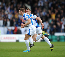 Bristol Rovers' Lee Brown celebrates his goal. - Photo mandatory by-line: Dougie Allward/JMP - Mobile: 07966 386802 26/04/2014 - SPORT - FOOTBALL - High Wycombe - Adams Park - Wycombe Wanderers v Bristol Rovers - Sky Bet League Two