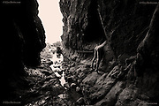 In this ancient Welsh cave, eroded by eons of nature's attack, it feels hard, solid and eternal nevertheless. The headless organic figure shows our irrelevance to the bigger world. This microscopic virus will do what it will do, it will kill and decimate communities in the same way as so many viruses before. Whether it's the climate, forces of nature, bacteria or viruses, our place on this earth is fragile and finite - we are never really in control of our future. <br />