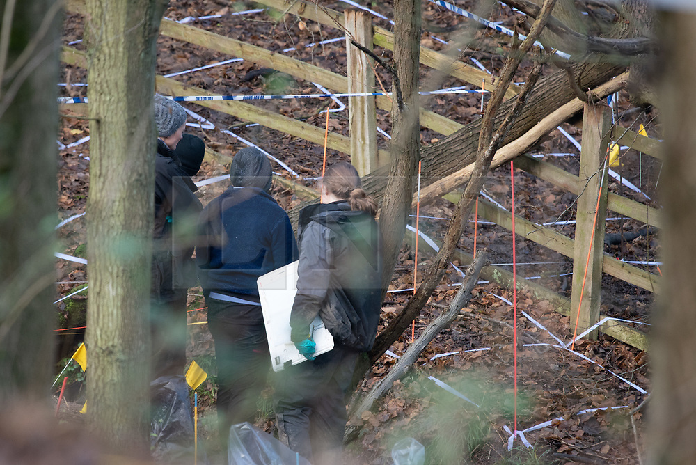 """© Licensed to London News Pictures. 11/12/2019. Gerrards Cross, UK. Forensic investigators look over the search area in Gerrards Cross, Buckinghamshire as Metropolitan Police Service continue to search woodland. Police have been in the area conducting operations since Thursday 5th December 2019. In a press statement issued on 7th December, a Metropolitan Police spokesperson said """"Officers are currently in the Gerrards Cross area of Buckinghamshire as part of an ongoing investigation.<br /> """"We are not prepared to discuss further for operational reasons."""" Photo credit: Peter Manning/LNP"""