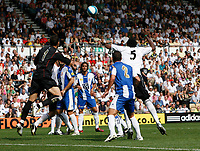 Photo: Steve Bond.<br />Derby County v RCD Espanyol. Pre Season Friendly. 04/08/2007. Keeper Garka Iriazoz goes for the ball challanged by Claude Davis (R)