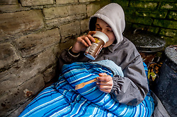 People who have to sleep rough have problems heating food, this young person had been given a gas stove to boil water for drinks and pot noodles, Sheffield, UK