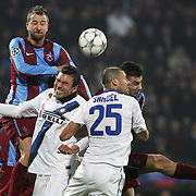 Trabzonspor's Remzi Giray KACAR (L) during their UEFA Champions League group stage matchday 5 soccer match Trabzonspor between Inter at the Avni Aker Stadium at Trabzon Turkey on Tuesday, 22 November 2011. Photo by TURKPIX