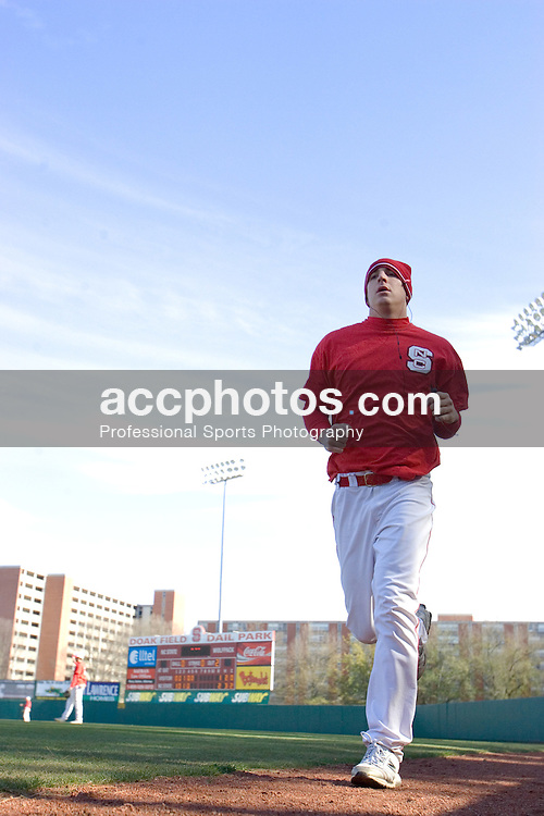 03 February 2007: North Carolina State Wolfpack pitcher Eric Surkamp (43) runs after practice at Doak Field in Raleigh, NC.