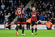 Goal - Ryan Fraser (24) of AFC Bournemouth celebrates scoring a goal to give a 2-0 lead to the home team during the Premier League match between Bournemouth and Huddersfield Town at the Vitality Stadium, Bournemouth, England on 4 December 2018.