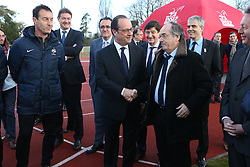 "29.03.2016, Paris, FRA, UEFA Euro, Hollande, 11 Tricolore, La France au rendez vous, im Bild der Staatspräsident der Französischen Republik Francois Hollande, le graet (noel) // during a visit at the INSEP or French National Institute of Sport and Physical Education, as part of the event ""11 Tricolore, La France au rendez- vous"" in Paris, France on 2016/03/29. EXPA Pictures © 2016, PhotoCredit: EXPA/ Pressesports/ Laurent Argueyrolles<br /> <br /> *****ATTENTION - for AUT, SLO, CRO, SRB, BIH, MAZ, POL only*****"