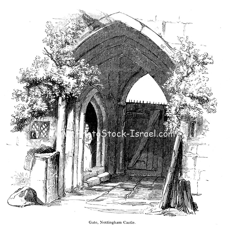 Gate, Nottingham Castle From the book The wanderings of a pen and pencil by Palmer, F. P. (Francis Paul); Illustrated by Crowquill, Alfred, [Alfred Henry Forrester]  Published in London by Jeremiah How in 1846