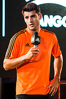 "Real Madrid player Alvaro Morata during the presentation of the new pack of Adidas football shoes ""Speed of Light"" in Madrid. September 16, 2016. (ALTERPHOTOS/Borja B.Hojas)"