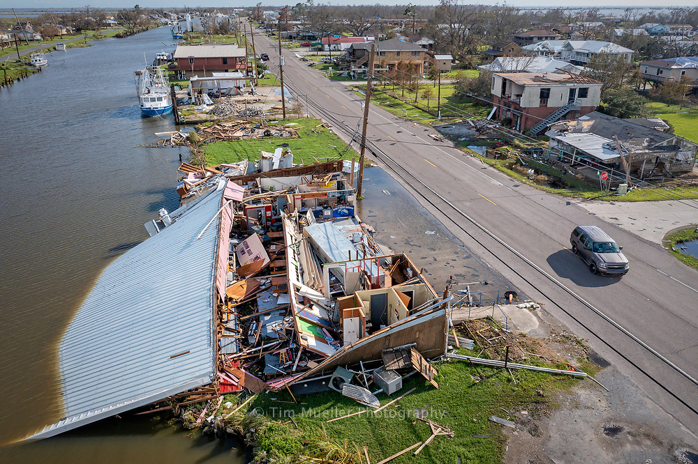 The roof of Bayou Magazin restaurant landed in Bayou Petit Caillou after Catagory 4 Hurricane Ida passed through Chauvin, La. with winds up to 150 mph.