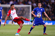 Solomon Rondon of West Bromwich Albion (l) in action . Premier league match, Leicester City v West Bromwich Albion at the King Power Stadium in Leicester, Leicestershire on Monday 16th October 2017.<br /> pic by Bradley Collyer, Andrew Orchard sports photography.