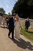 The Bride and Groom.. Marriage of Emilia Fox to Jared Harris. St. Michael's and All Angels. Steeple. Nr. Wareham. Dorset. 16 July 2005. ONE TIME USE ONLY - DO NOT ARCHIVE  © Copyright Photograph by Dafydd Jones 66 Stockwell Park Rd. London SW9 0DA Tel 020 7733 0108 www.dafjones.com