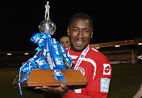 Football - The Conference Premier Division - Crawley Town vs. Luton Town Pablo Mills (Crawley captain) with the trophy.12/04/2011<br />  Credit : Colorsport / Andrew Cowie
