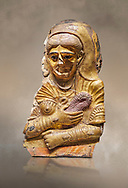 Ancient Egyptian Roman female mummy mask, limestone, Roman Period, 2nd Cent AD, Hawara,  Egyptian Museum, Turin. <br /> <br /> This is a remarkable gilt cartonnage with inlaid cystal eyes . The woman wears a Roman style hardo half covered by a veil, a himation, fringed cloak, yied to her breat, snake shaped bracelets and a necklace of pink flowers, all of which are connected to the cult of Isis. .<br /> <br /> If you prefer to buy from our ALAMY PHOTO LIBRARY  Collection visit : https://www.alamy.com/portfolio/paul-williams-funkystock/ancient-egyptian-art-artefacts.html  . Type -   Turin   - into the LOWER SEARCH WITHIN GALLERY box. Refine search by adding background colour, subject etc<br /> <br /> Visit our ANCIENT WORLD PHOTO COLLECTIONS for more photos to download or buy as wall art prints https://funkystock.photoshelter.com/gallery-collection/Ancient-World-Art-Antiquities-Historic-Sites-Pictures-Images-of/C00006u26yqSkDOM