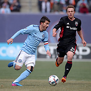 NEW YORK, NEW YORK - March 12:  David Villa #7 of New York City FC and Jared Jeffrey #25 of D.C. United in action during the NYCFC Vs D.C. United regular season MLS game at Yankee Stadium on March 12, 2017 in New York City. (Photo by Tim Clayton/Corbis via Getty Images)