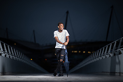 © Licensed to London News Pictures . 05/10/2018. Manchester , UK . Manchester City and Wales footballer RABBI MATONDO poses for photos around the Etihad Stadium in Manchester . Photo credit : Joel Goodman/LNP