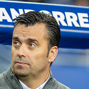 PARIS, FRANCE - September 10:   Koldo Álvarez, head coach of Andorra, in the dugout during the France V Andorra, UEFA European Championship 2020 Qualifying match at Stade de France on September 10th 2019 in Paris, France (Photo by Tim Clayton/Corbis via Getty Images)