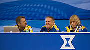 """Glasgow. SCOTLAND.  The Swedish Coaching Bench, find something to smile about during the """"Round Robin"""" Games. Le Gruyère European Curling Championships. 2016 Venue, Braehead  Scotland<br /> Monday  21/11/2016<br /> <br /> [Mandatory Credit; Peter Spurrier/Intersport-images]"""