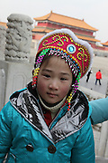 China, Beijing, The Imperial Palace in the Forbidden City Portrait of a Chinese child