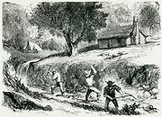Gold mining in California: ground sluicing. Engraving, 1879.