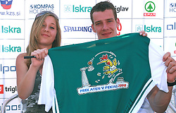 Goran Dragic with Fan's T shirt at press conference and after time with fans of Slovenian basketball National Team before departure to Athens for Olympic qualifications, on July 12, 2008, at Presernov trg, in Ljubljana, Slovenia. (Photo by Vid Ponikvar / Sportal Images)