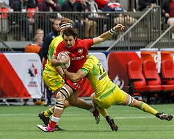 March 10, 2018 - Vancouver, British Columbia, U.S. - VANCOUVER, BC - MARCH 10: Pat Kay (#10) of Canada sandwiched between Australia tacklers during Game # 7- Australia vs Canada Pool A match at the Canada Sevens held March 10-11, 2018 in BC Place Stadium in Vancouver, BC. (Photo by Allan Hamilton/Icon Sportswire) (Credit Image: © Allan Hamilton/Icon SMI via ZUMA Press)