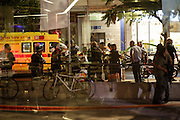 TEL AVIV, June 8, 2016 <br /> <br /> Palestinian Gunman Open Fire In Tel Aviv Attack<br /> <br /> Israeli security forces gather at a shopping complex in Tel Aviv, Israel following a shooting attack on June 8, 2016. Three Israelis were killed in an apparent shooting attack at a Tel Aviv restaurant and retail center on Wednesday evening, Israeli police and emergency services said. <br /> ©Exclusivepix Media
