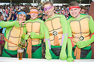supporters in fancy dress ahead of the NatWest T20 Blast final match between Northants Steelbacks and Lancashire Lightning at Edgbaston, Birmingham, United Kingdom on 29 August 2015. Photo by David Vokes.