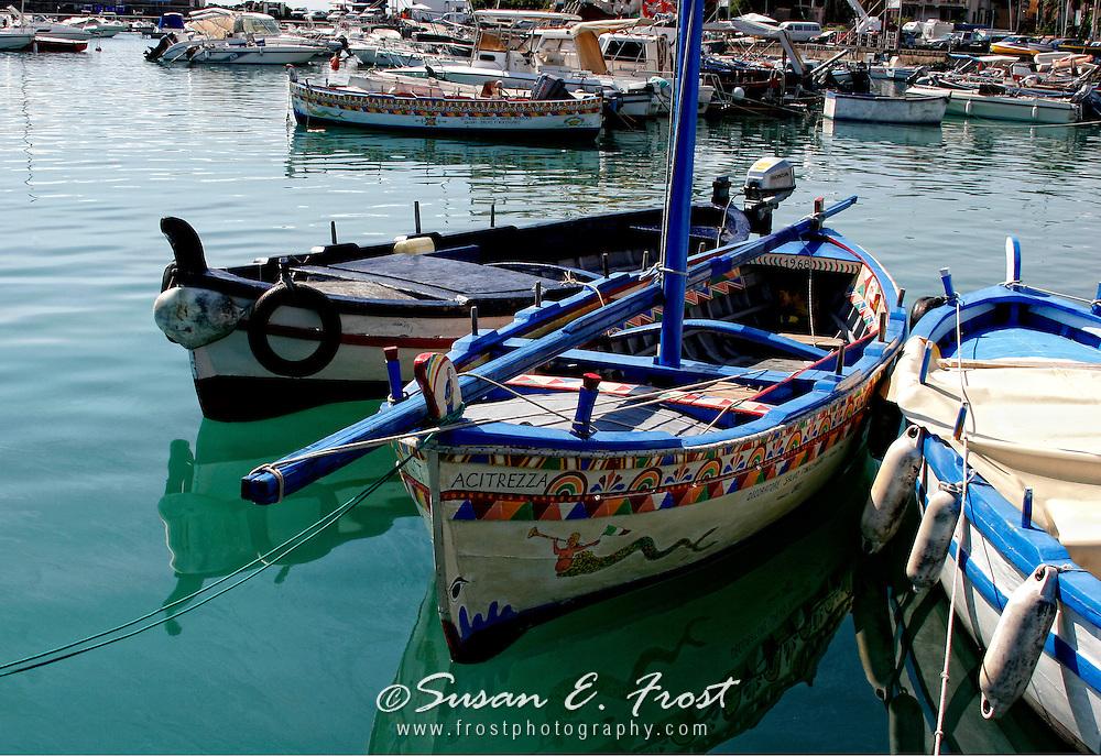 Colorful  boats at Acitrezza, Italy