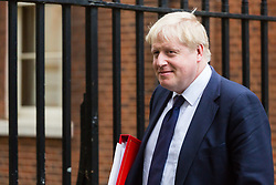London - Foreign Secretary Boris Johnson leaves the weekly meeting of the UK cabinet at Downing Street. January 23 2018.