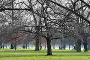 People out walking through Kensington Gardens on a sunny early spring morning