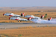 4 Israeli Air force Fouga Magister in aerobatics display at take off