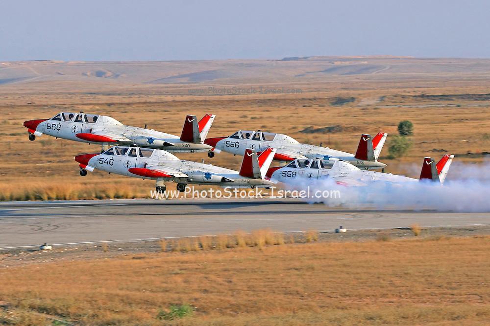 4 Israeli Air force Fouga Magister in aerobatics display at take off