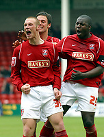 Photo: Dave Linney.<br /> Walsall v Port Vale. Coca Cola League 1. 15/04/2006.<br /> Walsall's James Constable (L) celebrates making it 1-0.